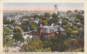 Alabama Montgomery Birds Eye View Of Residence Section and Water Tower Curteich