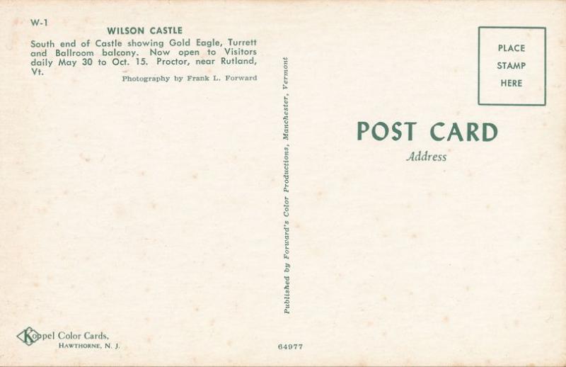 Wilson Castle Golden Eagle and Turrett - Proctor near Rutland VT, Vermont