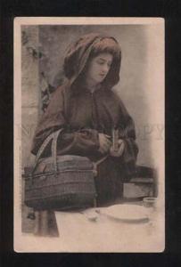 058078 Lady as MONK w/ Basket Vintage Photo Type