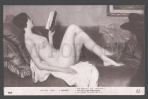 105758 NUDE Woman Reading BOOK by HERVE vintage SALON 1910