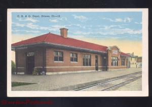 OTTAWA ILLINOIS C.B. & Q. RAILROAD DEPOT TRAIN STATION VINTAGE POSTCARD ILL.