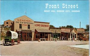 DODGE CITY, KS Kansas  FRONT STREET Scene  BOOT HILL  c1950s Roadside  Postcard