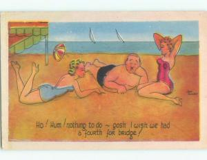 1944 risque signed MAN WITH TWO SEXY GIRLS AT BEACH WANTS 4TH FOR BRIDGE k3734