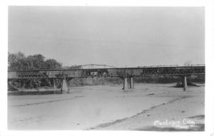 Montague City Massachusetts Bridge Waterfront Real Photo Antique Postcard K84610