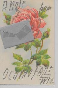 Oconto Falls Wisconsin rose attached envelope glittered antique pc Z19246