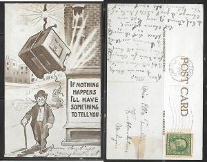 1911 Humor postcard -falling safe