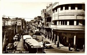 iraq, BAGHDAD BAGDAD, Rasheed Street, Bus Car (1950s) RPPC Postcard