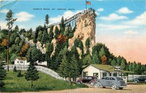 Castle Rock St Ignace MIchigan MI Ojibway Lookout Pontiacs old cars Postcard