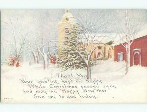 Unused Pre-Linen new year WINTER WONDERLAND SCENE WITH TREES AND BUILDINGS k5008