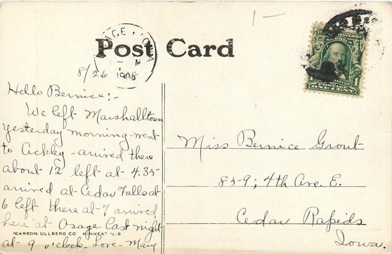 Cedar Falls Iowa~Moonlight On The Cedar River~Dam~Fallls~House~1908 Postcard