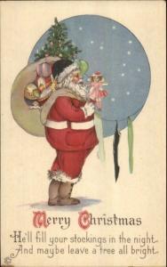 Christmas - Santa Claus Fills Stockings 745F c1915 Postcard