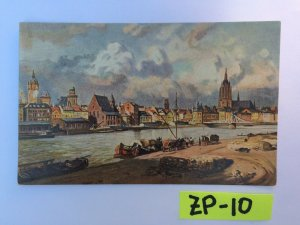 Frankfurt A M Water view with buildings and horses Vintage Postcard ZP-10