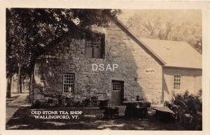 C67/ Wallingford Vermont VT Real Photo RPPC Postcard c1920 Old Stone Tea Shop
