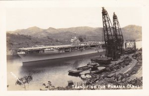 Panama Canal Aircraft Carrier Transiting The Canal Real Photo sk3416