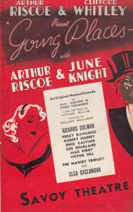 Going Places Peggy Rawlings Olga Baclanova Musical  Savoy Theatre Programme