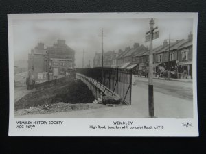 London WEMBLEY High Road Junction with Lancelot Road - Old RP Postcard