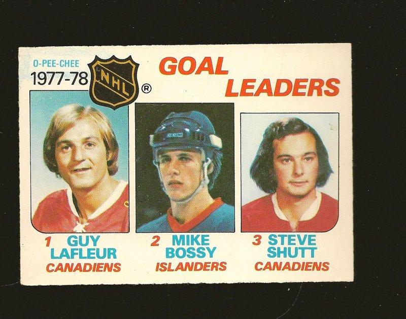 O-Pee-Chee 1977-78 NHL Goal Leaders Card #63 Lafleur Bossy Shutt