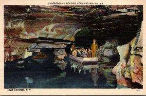 New York Howe Caverns Underground Boating Near Natural Pillar 1953