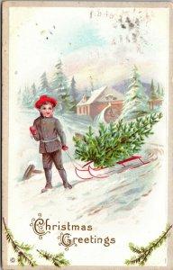 Vintage Postcard Christmas Greeting Sledding Merry Christmas  POSTED