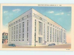 Unused Linen POST OFFICE SCENE Albany New York NY d8759