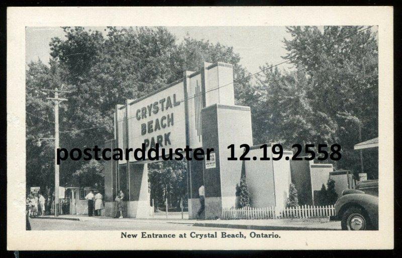 2558 - CRYSTAL BEACH Ontario Postcard 1930s Amusement Park Entrance by Leslie