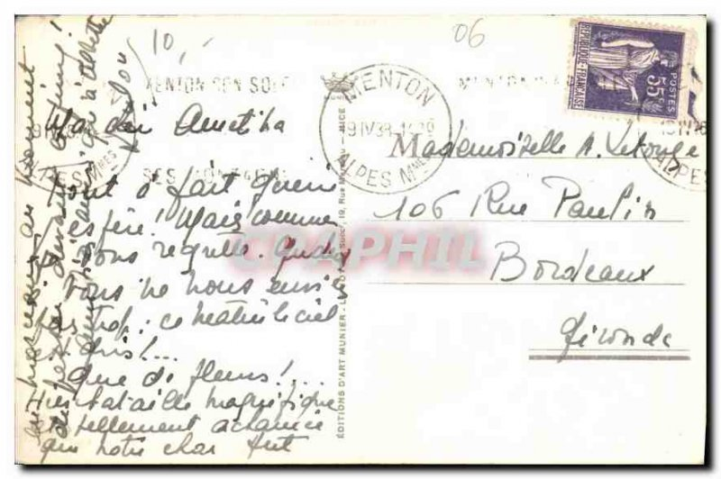 Old Postcard The French Riviera Menton Garavan Bay and Frontier Italian
