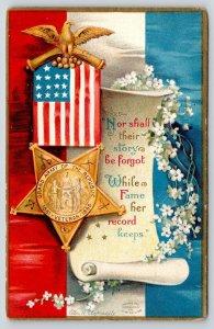 Ellen H Clapsaddle Patriotic~Memorial Day~GAR Flag Medal~Parchment Scroll~c1910