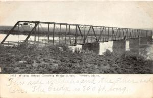 F7/ Weiser Idaho Postcard c1910 Wagon Bridge Snake River