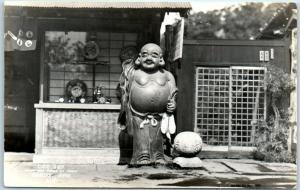 Kamakura JAPAN Real Photo RPPC Postcard Buddha Happy God Statue CURIO SHOP