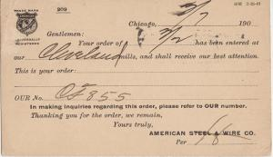 CHICAGO ILLINOIS - AMERICAN STEEL & WIRE COMPANY 1901 - Receipt for order