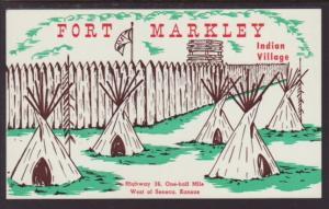 Fort Markley Indian Village Seneca Kansas Postcard 4048
