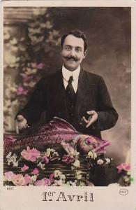1er Avril April Fool's Day Man With Fish 1910