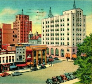 Mansfield Ohio Oh Mansfield Paisaje Urbano 1942 Vtg Lino Tarjeta Postal Curteich