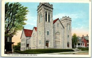 Galion, Ohio Postcard First Reformed Church Building / Street View 1916 Cancel