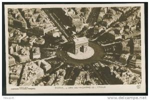 France Paris Arc de Triomphe Aerial View AN Paris Vintage Postcard