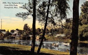 Stoughton Wisconsin~City Park~Yarhara River~Boating~Bridge~1913 Postcard