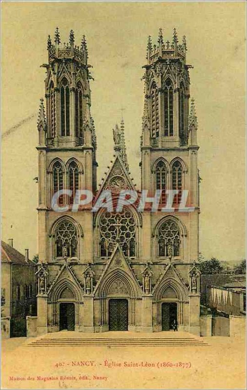 Old Postcard Nancy Eglise Saint Leon