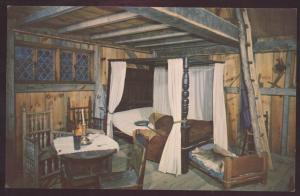 Plimoth Plantation Plymouth Massachusetts Interior Postcard Pilgrim House Bed