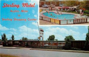 Austin Minnesota~Sterling Motel~Shopping Center~Heated Pool~Map~1960s Cars~PC