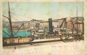Postcard Croatia Fiume Hafen