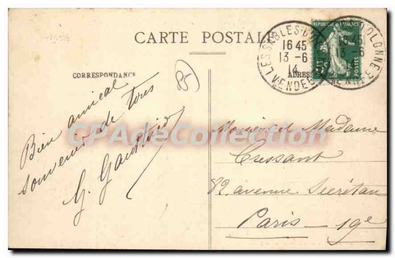 Old Postcard Les Sables D'Olonne Taking From Courthouse