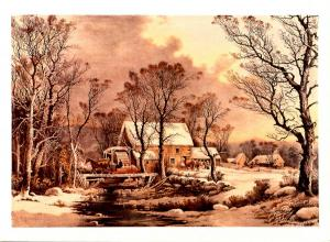 Currier & Ives (Repro) - Winter in the Country, Grist Mill -  Artist Signed: ...