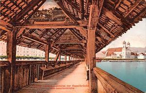 Switzerland Old Vintage Antique Post Card Luzern Bridge Unused