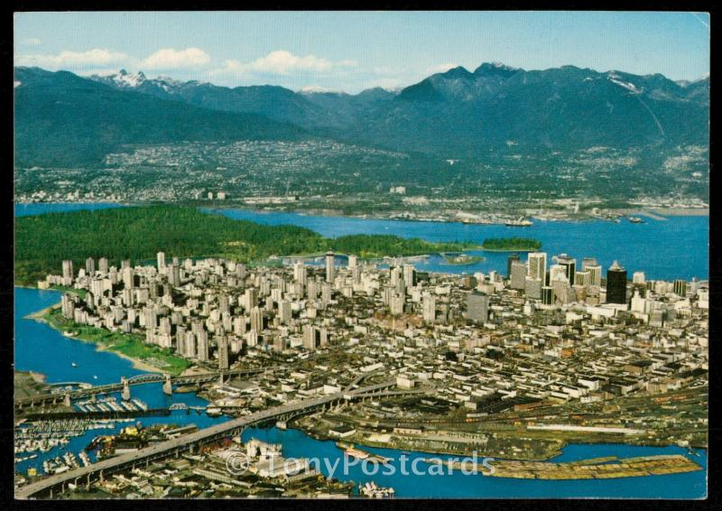 Aerial View of Downtown Vancouver, Burrard, Inlet and North Shore Mountains