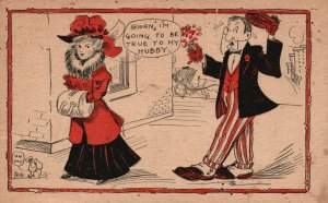 Vintage Postcard 1910 Gwan, I'm Going to be True to My Hubby. Love