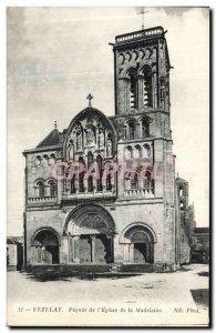 Old Postcard Vezelay Facade of The Madeleine Church