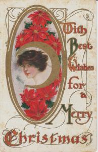 Best Wishes Merry Christmas Postcard Vintage Embossed Antique