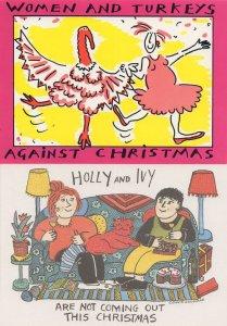 Women & Turkeys Against Christmas 2x Political Rights Postcard