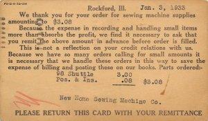 Rockford IL New Home Sewing Machine Supplies Postal Order~1933 Dumenil~Keokuk IA