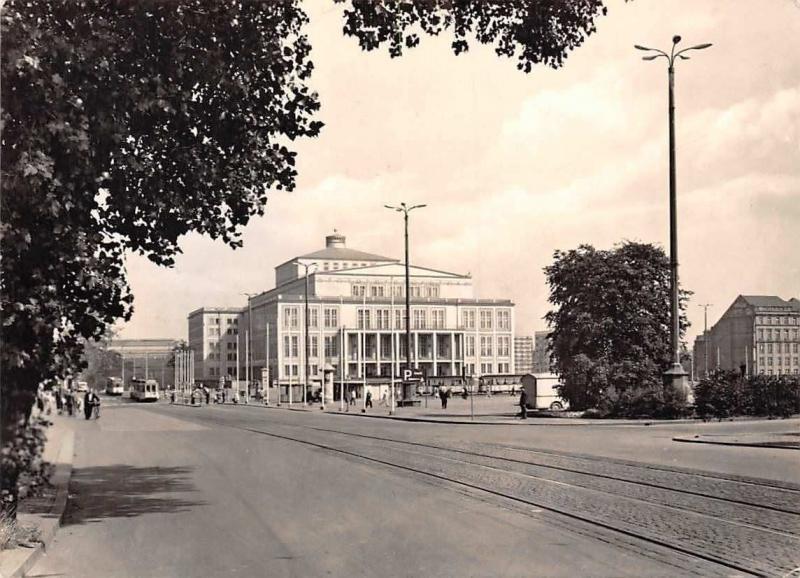 Leipzig Opera House At Karl Marx Square Tram Street Promenade Opernhaus Hippostcard